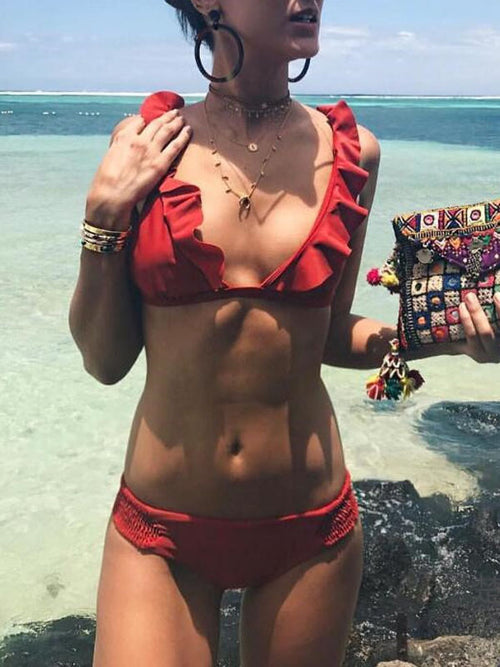 Red Ruffle Trim Bikini Top and Bottom