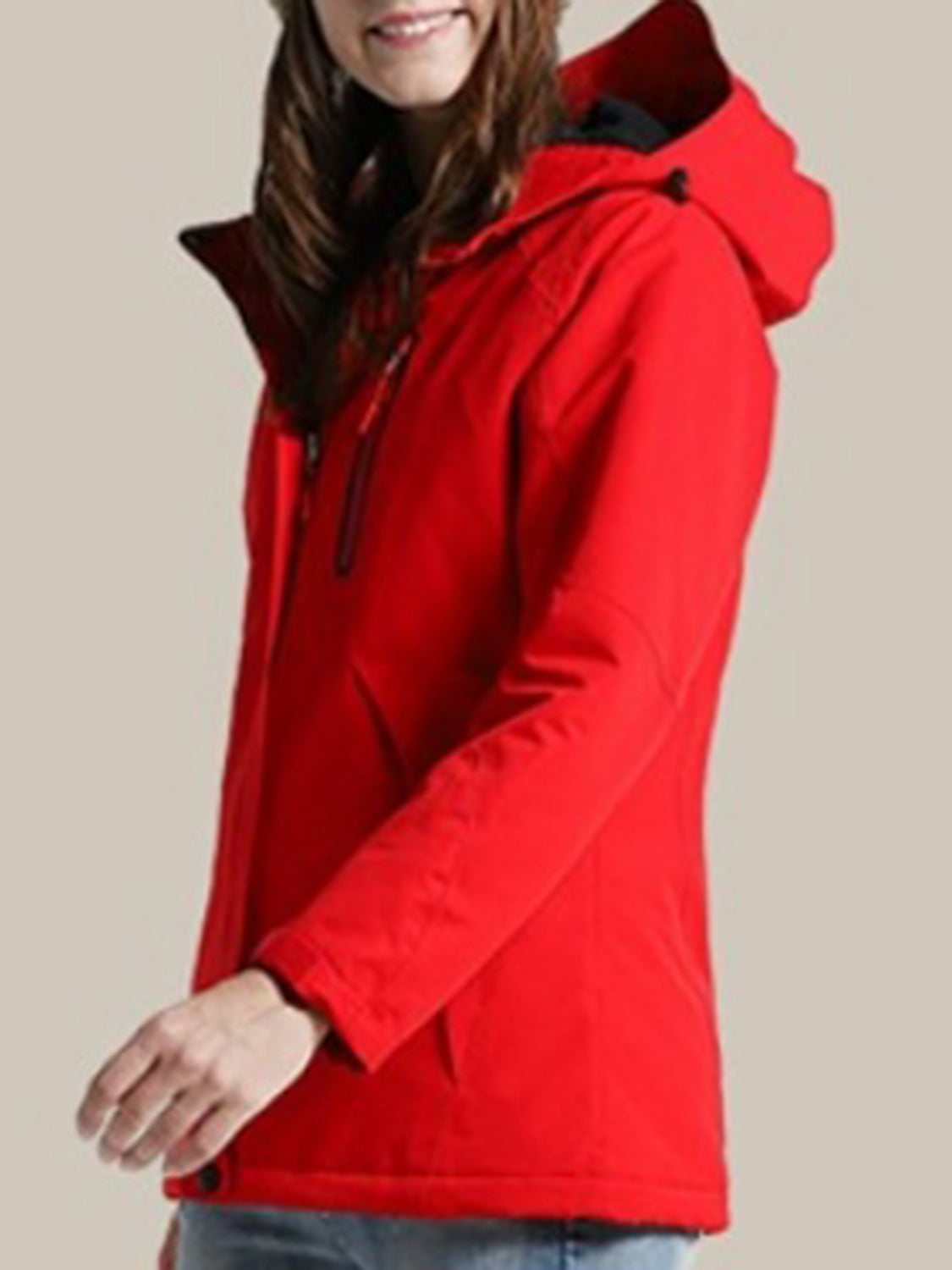 Red Hooded Coat USB Intelligent Heating Long Sleeve