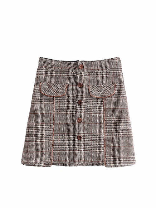 Brown Plaid High Waist Button Placket Front Mini Skirt