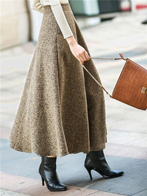 Khaki High Waist Pocket Detail Maxi Skirt