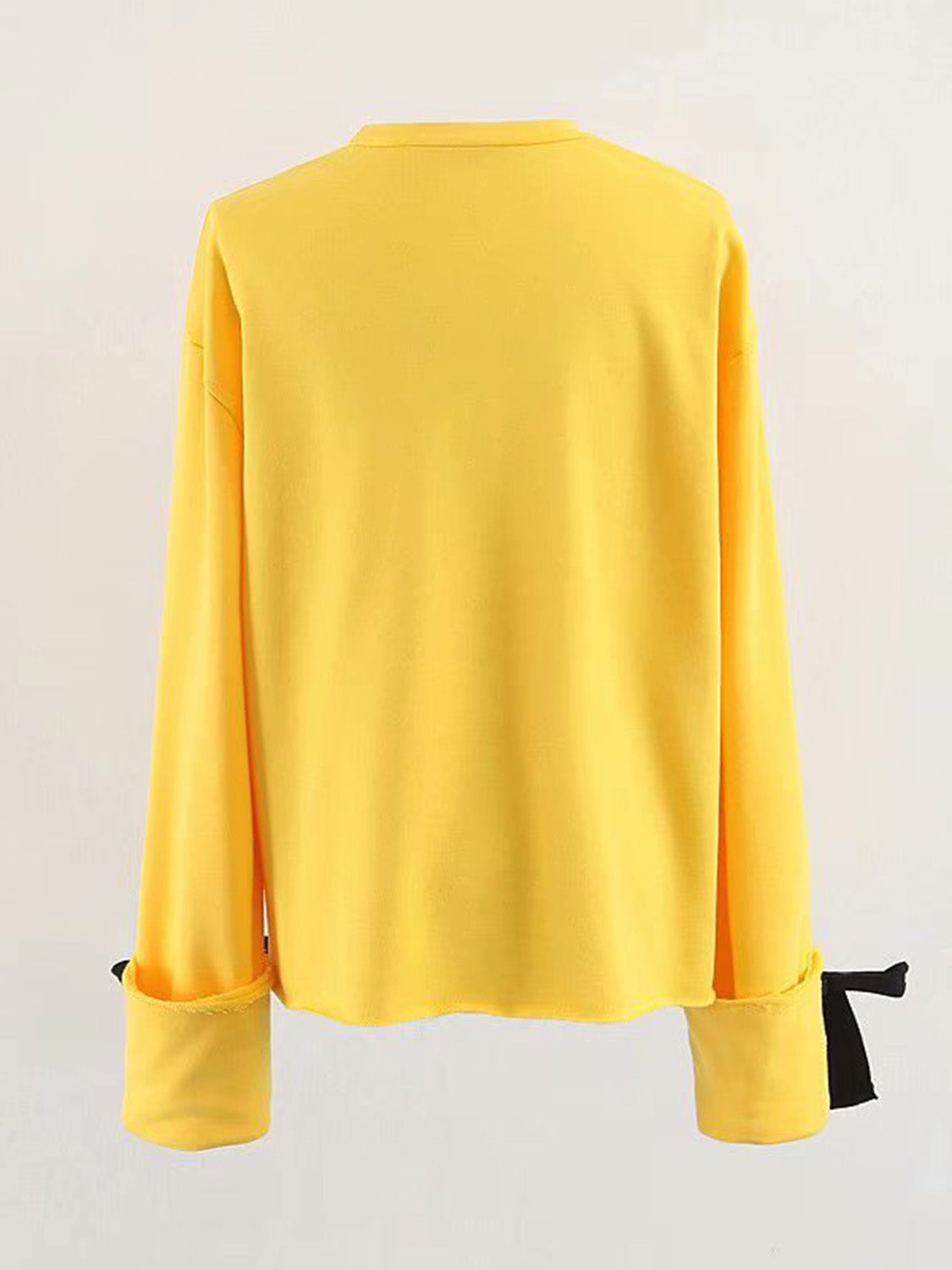 Yellow Women Sweatshirt Cotton Tie Cuff Long Sleeve
