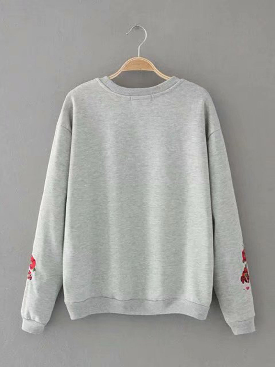 Gray Women Crop Sweatshirt Floral Embroidery Long Sleeve