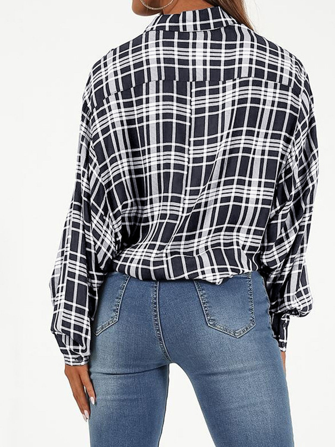 Black Women Crop Shirt Plaid Tie Front Long Sleeve