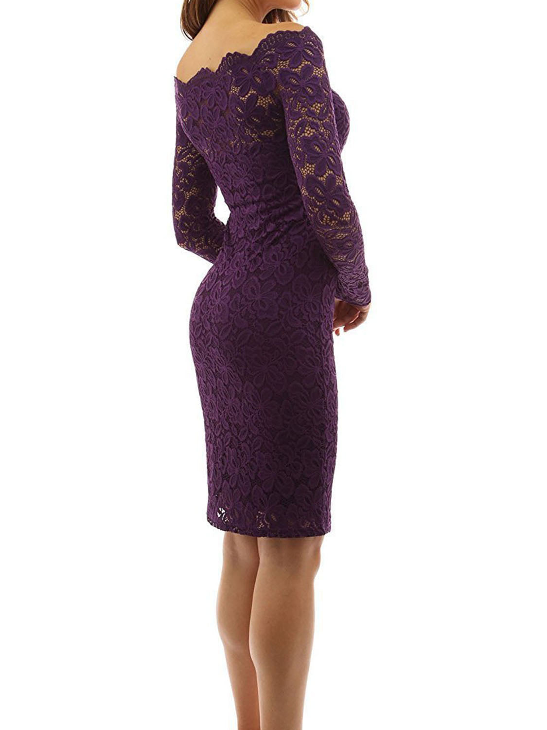 Purple Off Shoulder Long Sleeve Women Lace Bodycon Dress