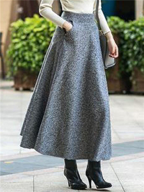 Gray High Waist Pocket Detail Women Maxi Skirt