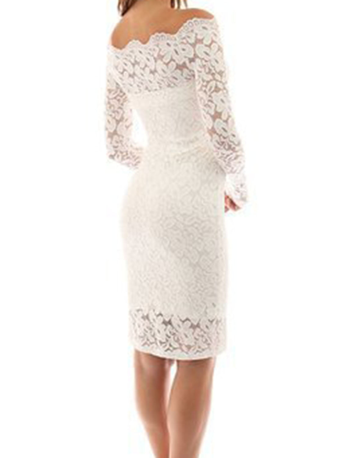 White Off Shoulder Long Sleeve Women Lace Bodycon Dress
