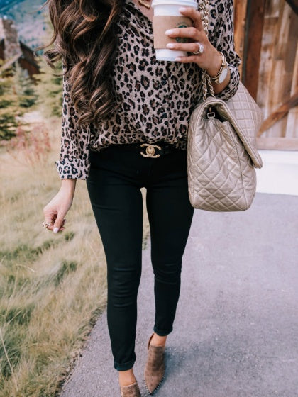 Khaki Women Shirt Leopard Print Long Sleeve