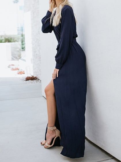 Dark Blue Cotton Plunge Tie Waist Long Sleeve Chic Women Maxi Dress