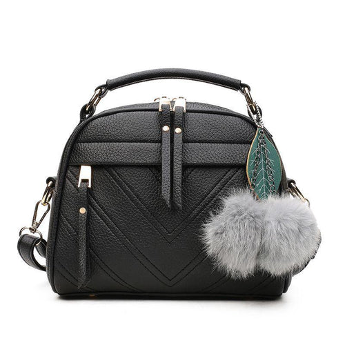 Mini Shoulder Messenger Bags With Puffer Ball Pendant
