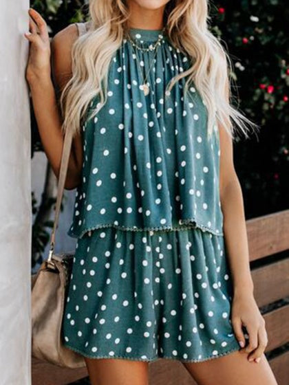 Green Two Pieces Halter Polka Dot Print Sleeveless