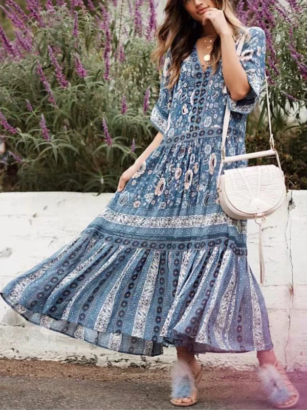 Blue V-neck Floral Print Ruffle Hem Maxi Dress
