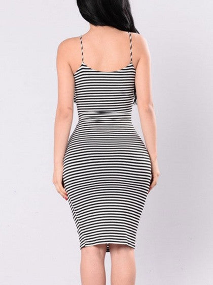Sexy Black Striped Halter Cross Wrap Bodycon Dress
