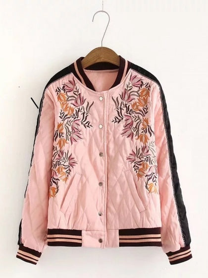 Pink Bomber Jacket Cotton Flower And Letter Embroidery Long Sleeve