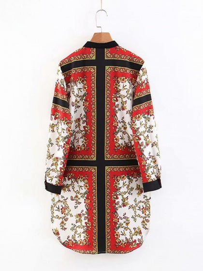 Red Floral Print Split Side Long Sleeve Women Mini Dress