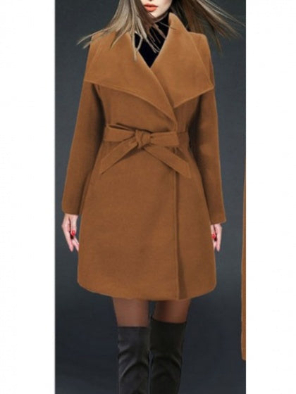 Khaki Women Wool Blend Coat Lapel Tie Waist Long Sleeve