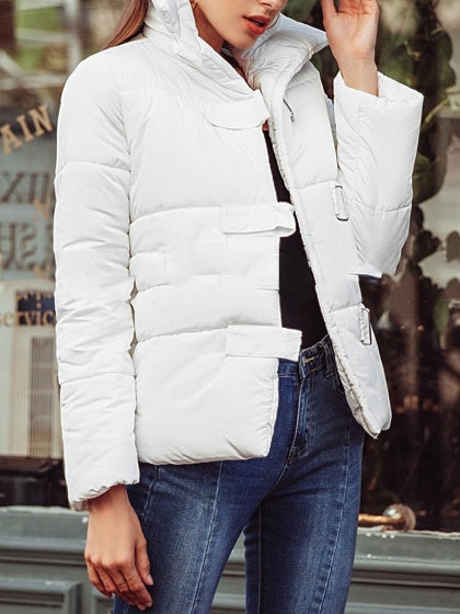 White Women Jacket Lapel Button Placket Front Long Sleeve