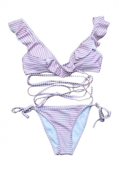 Pink Stripe Plunge Neck Strappy Cross Padded Bikini Top And Bottom