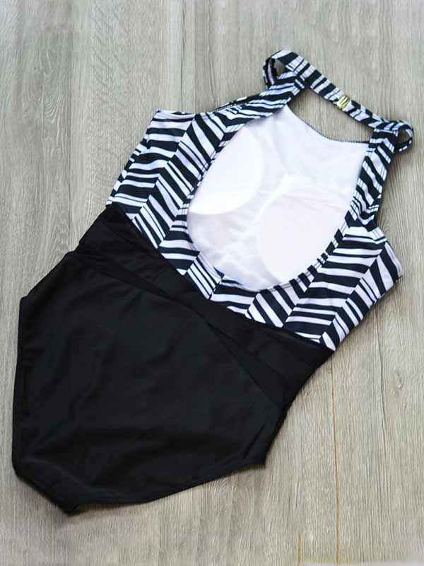 Black Stripe Nylon Sheer Mesh Panel Open Back Chic Women Swimsuit