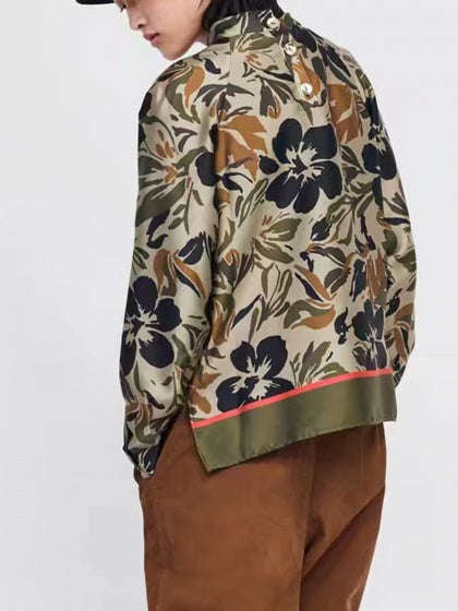 Army Green Women Blouse Floral Print Long Sleeve