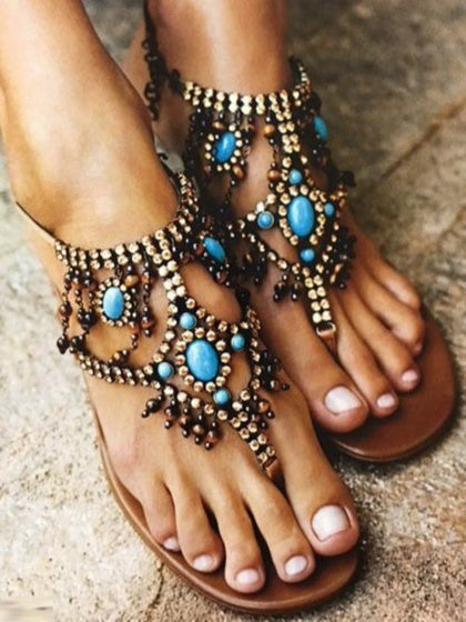 Blue Women Bohemian Flat Sandals T-band String Beads Embellished