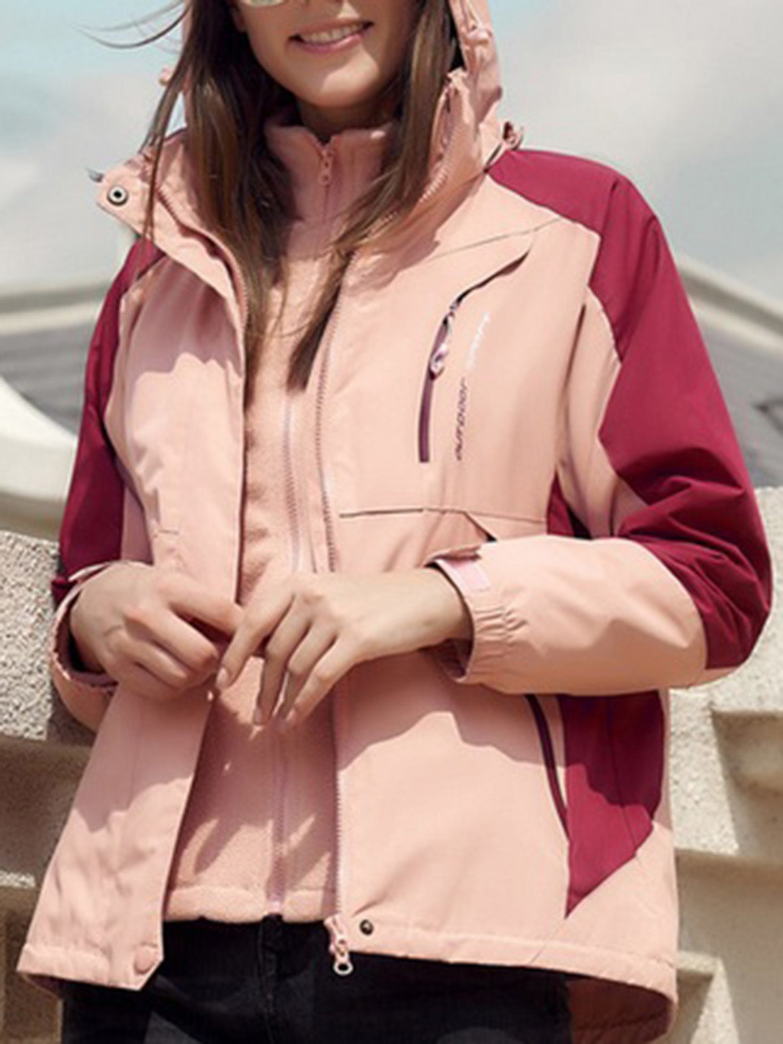 Pink Long Sleeve Women Hooded Ski Jacket