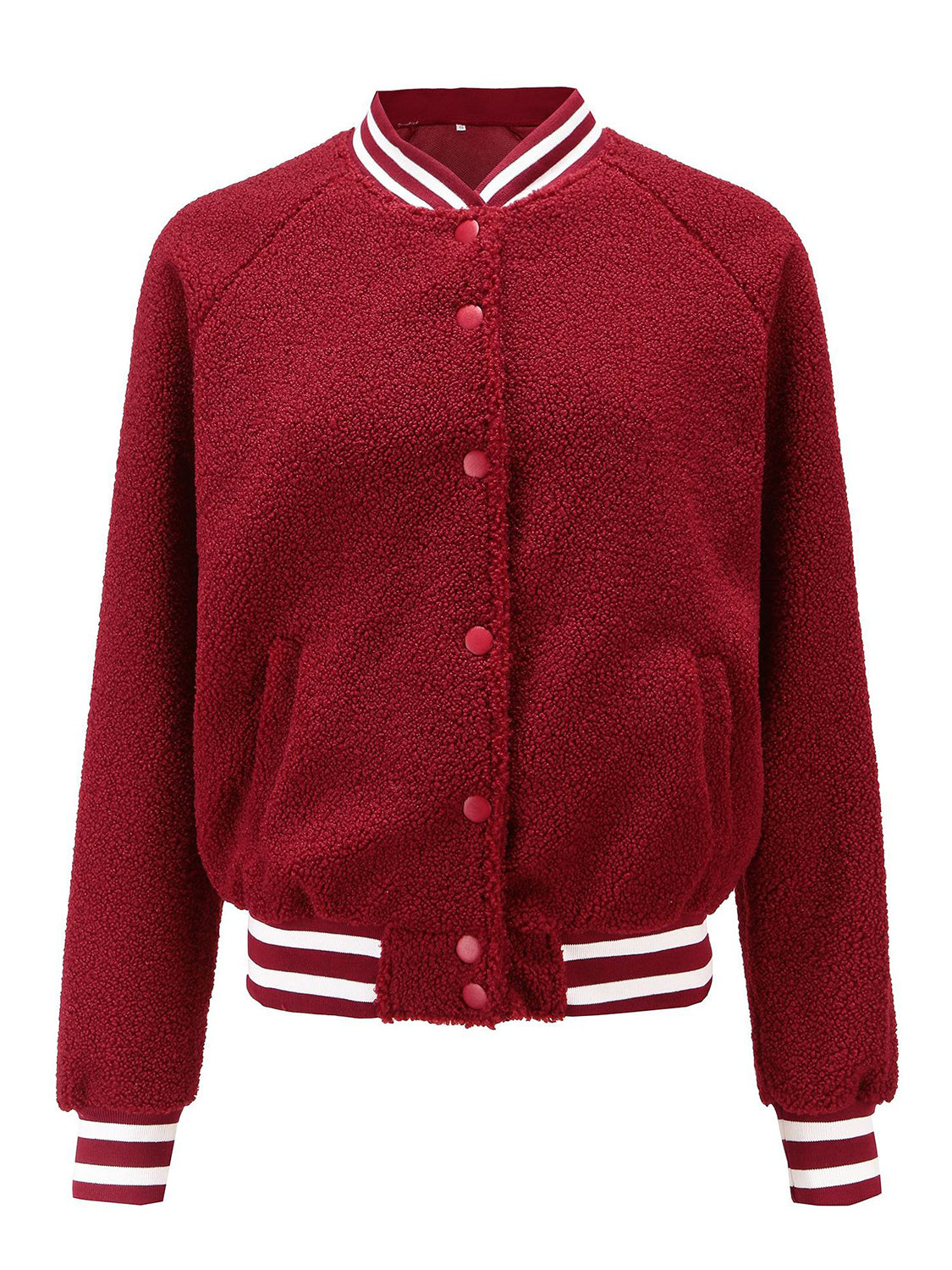 Red Women Bomber Jacket Button Placket Front Long Sleeve