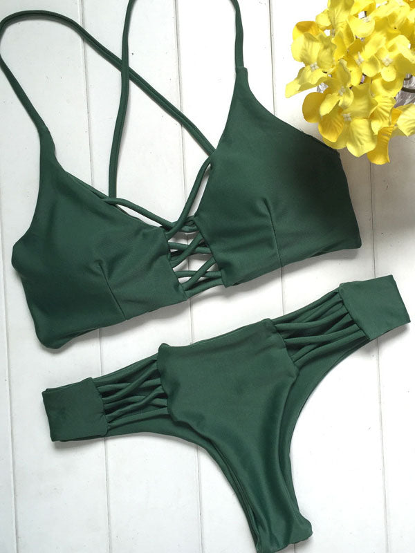 Green Lace Up Criss Cross Bikini Top and Bottom