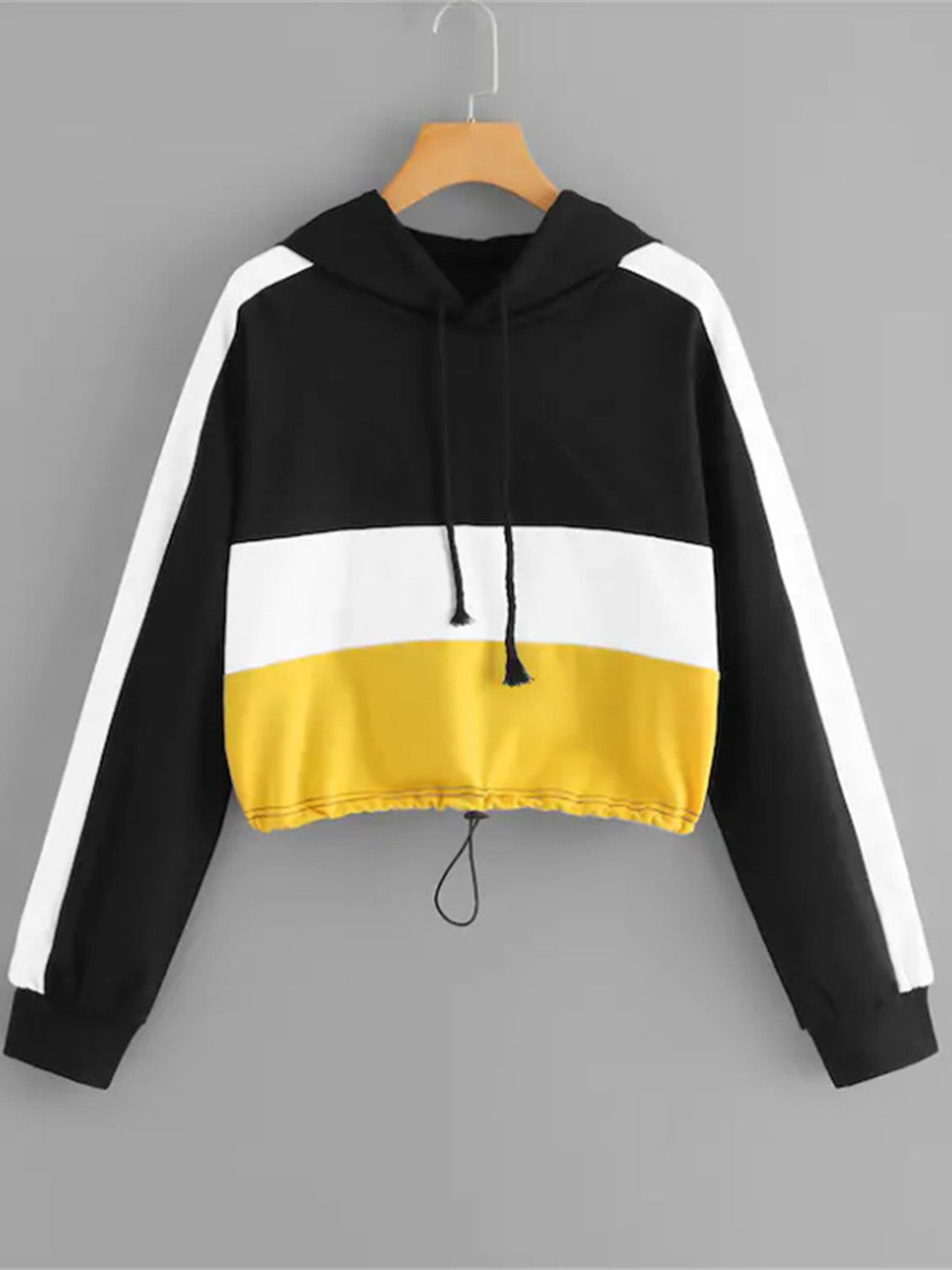 Yellow Women Crop Hoodie Contrast Drawstring Detail Long Sleeve
