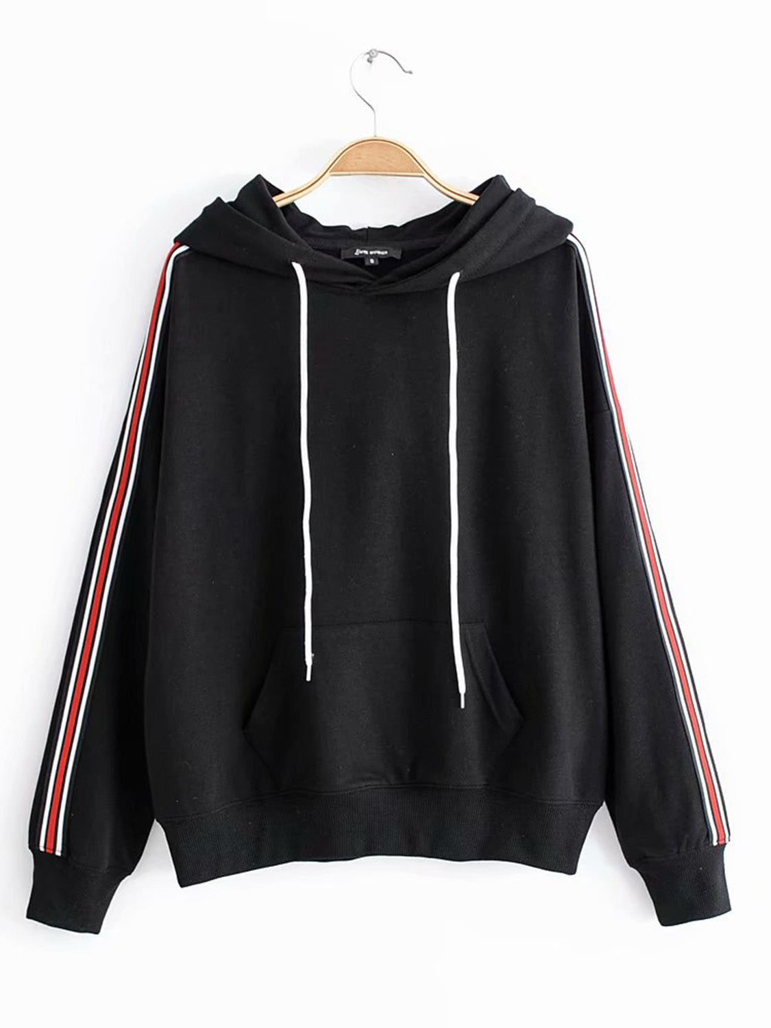 Black Women Hoodie Cotton Blend Stripe Panel Side Long Sleeve