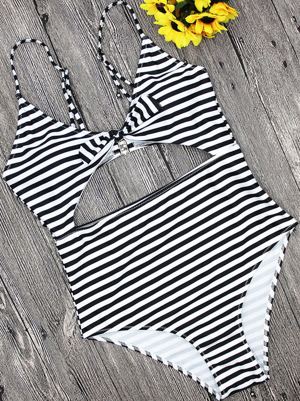 Black Stripe Cut Out Details Knot Swimsuit