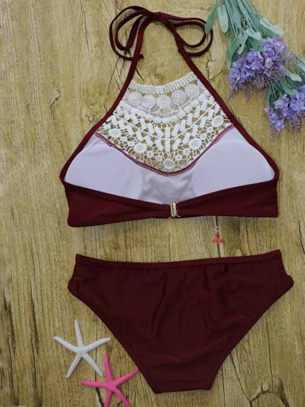 Burgundy Halter Lace Panel Bikini Top And Bottom