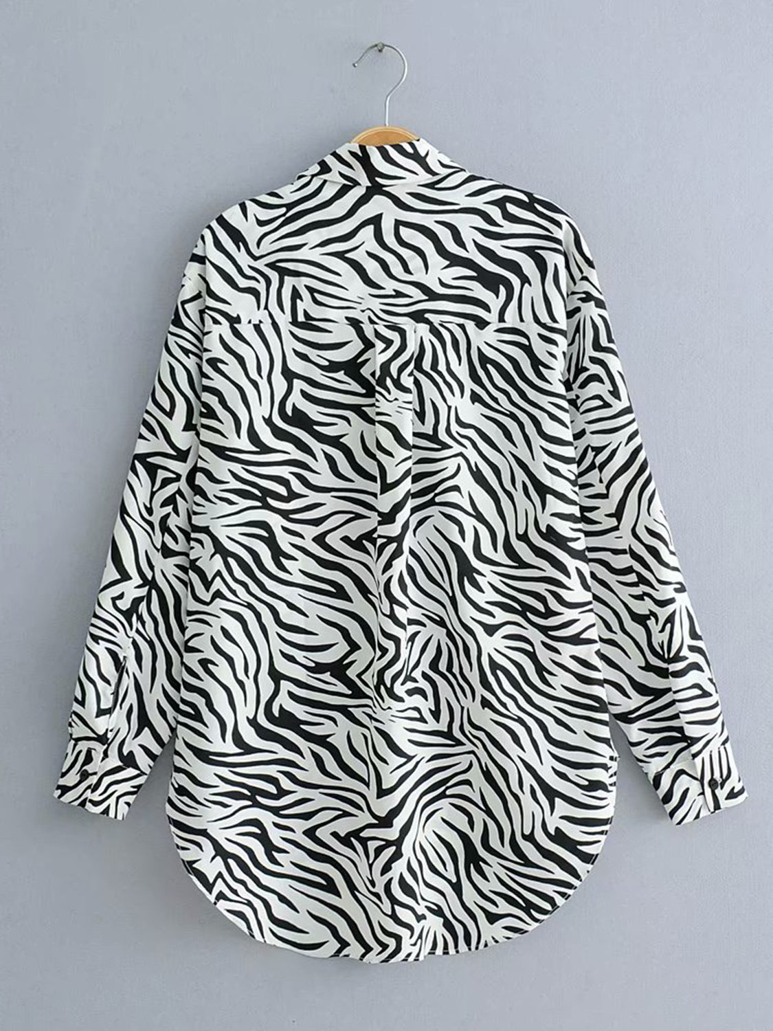 Black Women Blouse Zebra Print Long Sleeve
