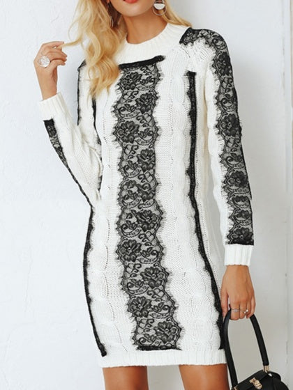 White Women Knit Mini Dress Contrast Lace Panel Long Sleeve