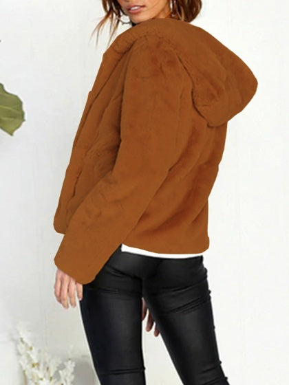 Brown Women Fleece Hooded Coat Long Sleeve