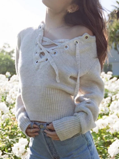 Gray Women Sweater Ribbed Eyelet Lace Up Front Long Sleeve
