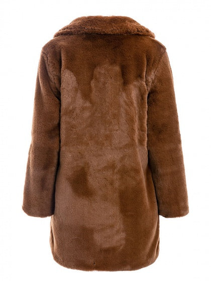 Camel Brown Women Faux Fur Coat Lapel Long Sleeve