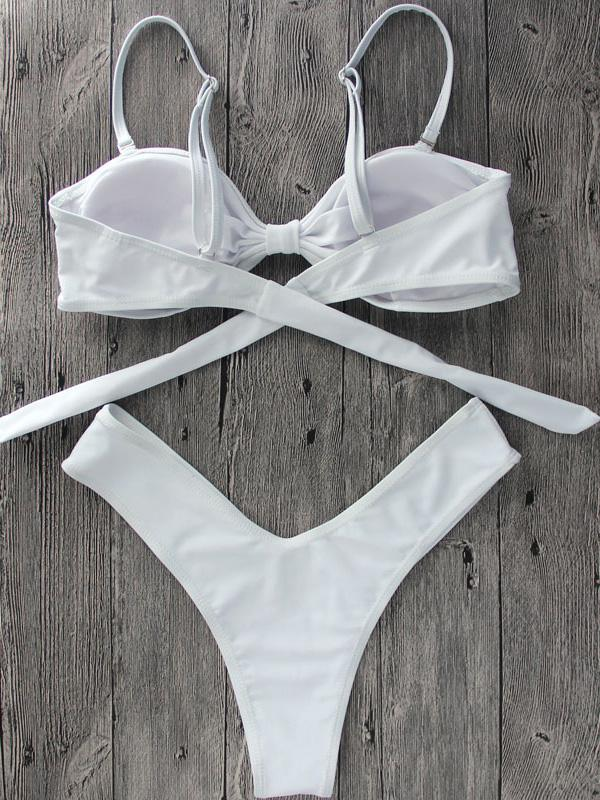 White Knot Front Detachable Bow Sleeve Bikini Top And Bottom