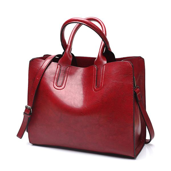 Premium Women Leather Oil Waxed Tote HandBag