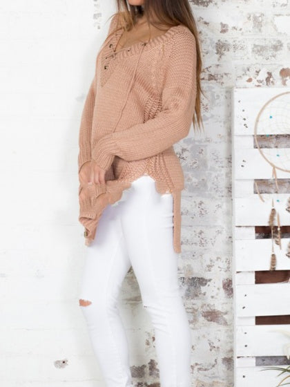 Khaki Sweater V-neck Eyelet Lace Up Front Split Side Long Sleeve