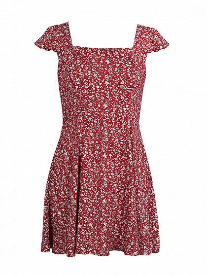Red Square Neck Cap Sleeve Floral Print Tied Open Back Mini Skater Dress ab5fbf4c9