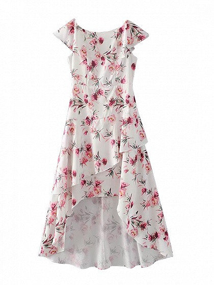 Polychrome Floral Ruffle Dipped Hem Dress