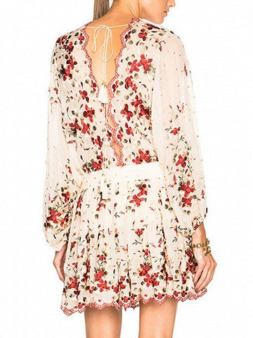 Polychrome Floral Open Back Long Sleeve Mini Dress