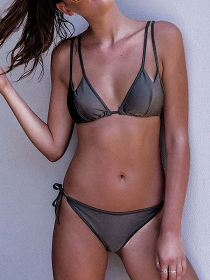 Dark Gray Double Strap Triangle Bikini Top And Tie Side Bottom