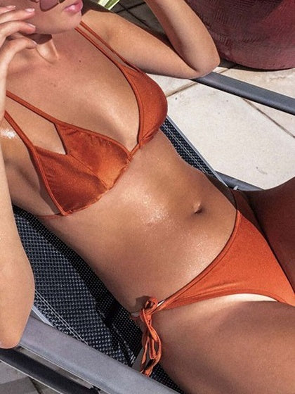 Orange Double Strap Triangle Bikini Top And Tie Side Bottom