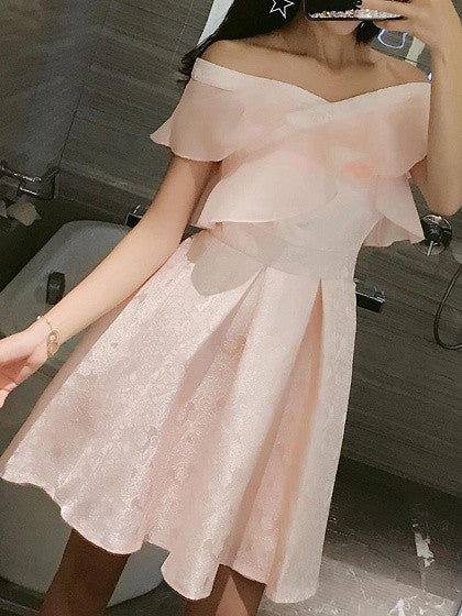 Pink Jacquard Off Shoulder Ruffle Box Pleat Skater Dress