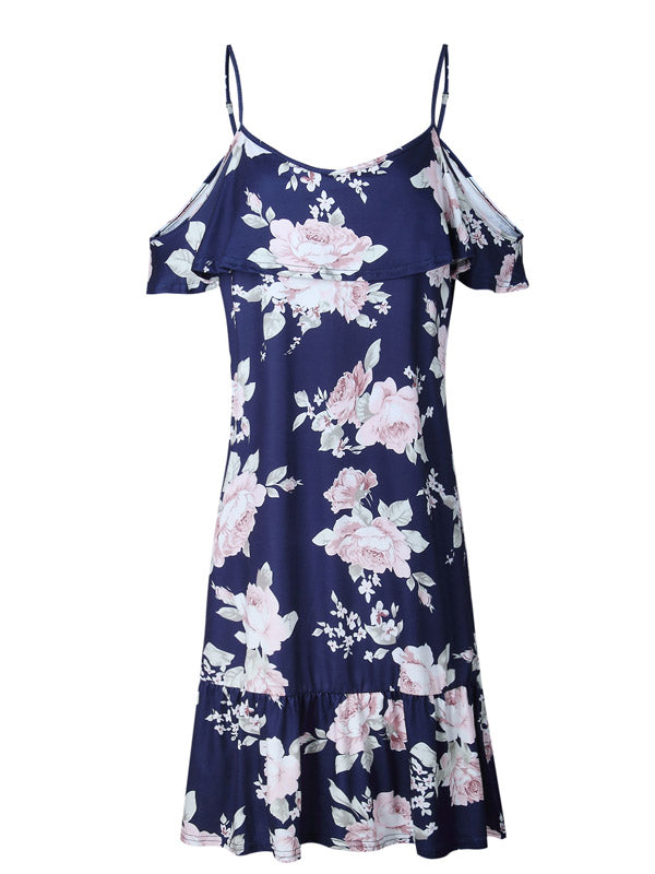Blue Floral Spaghetti Strap Shift Midi Dress