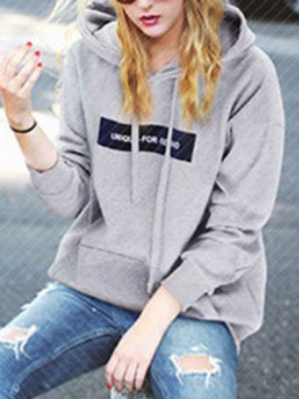 Gray Women Hoodie Letter Print Pouch Pocket Front Long Sleeve