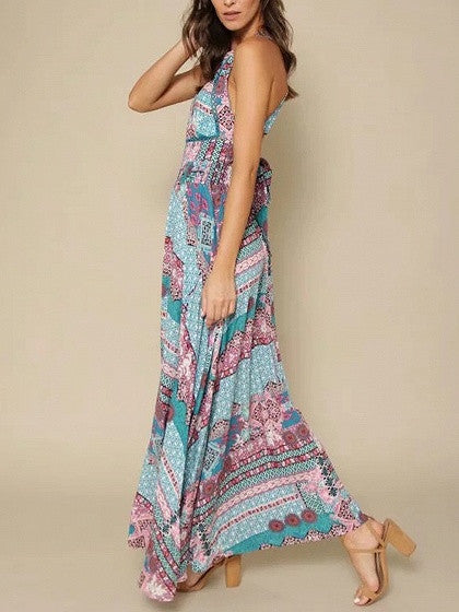 Polychrome Halter Geo-tribal Open Back Maxi Dress