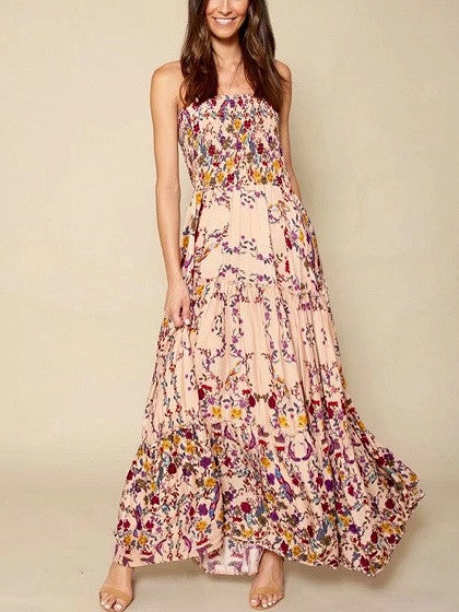 Polychrome Floral Bandeau Stretch Strapless Maxi Beach Dress