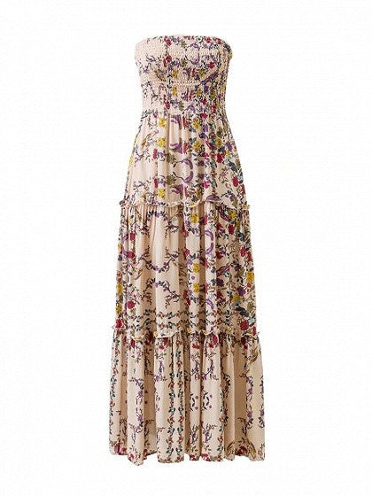 Polychrome Maxi Beach Dress Floral Bandeau Stretch Strapless